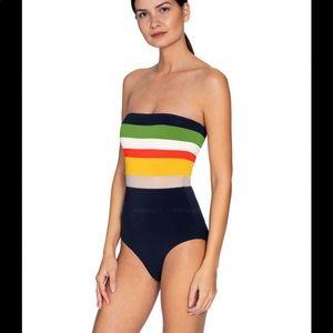 Stripe bandeau one piece